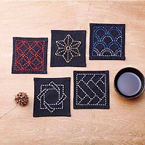 Sashiko Sampler - Coaster Collection - Black