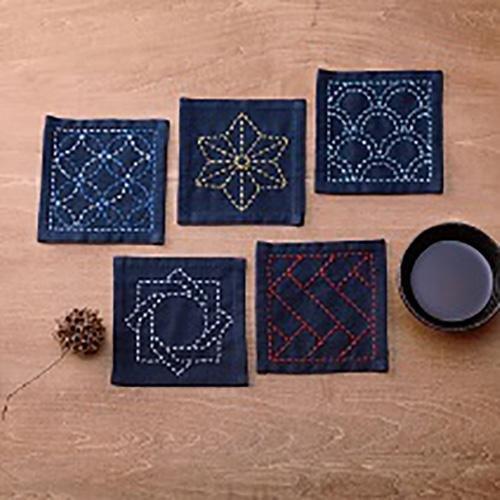 Sashiko Sampler - Coaster Collection - Indigo