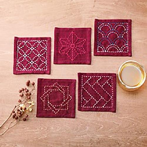 Sashiko Sampler - Coaster Collection - Yarn Dyed Red