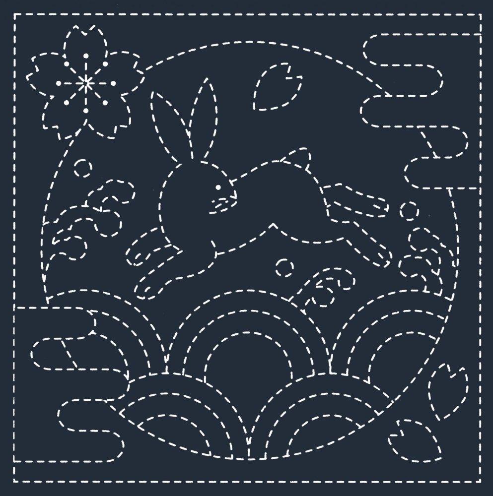 Hana-Fukin Sashiko Sampler - Usagi & Seikai-Ha - Indigo