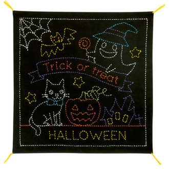 Sashiko Panel - Halloween Sampler - Black