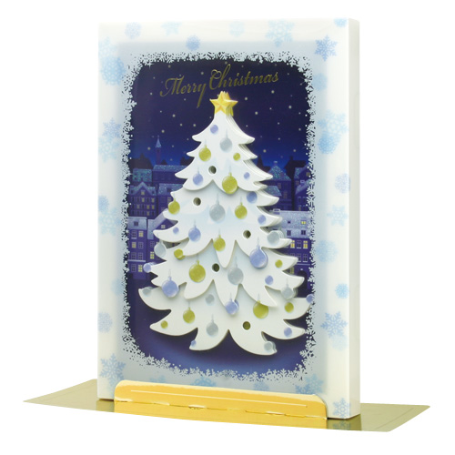 3D Christmas Card w/Song & Lights - Snowy Christmas Tree