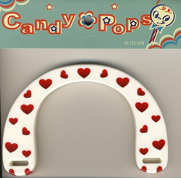 Handles - White w/Red Hearts