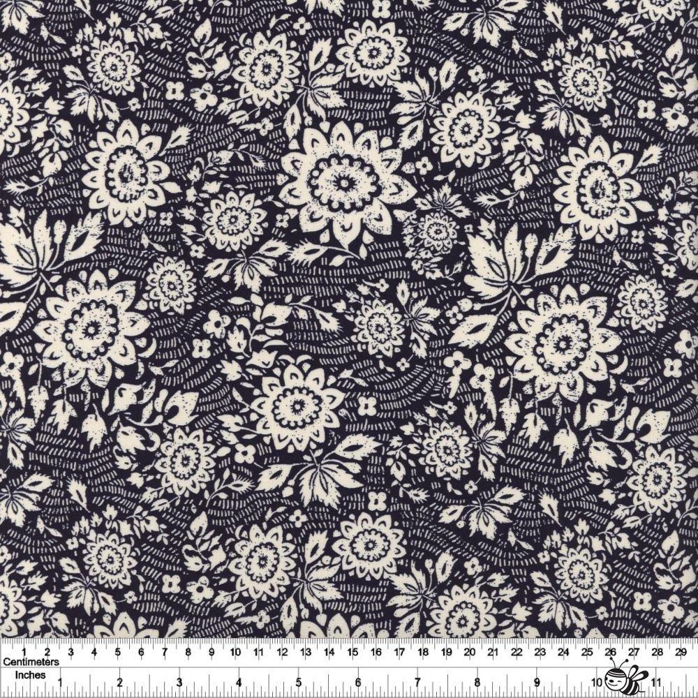 Sashiko - Floral Stitch - Indigo