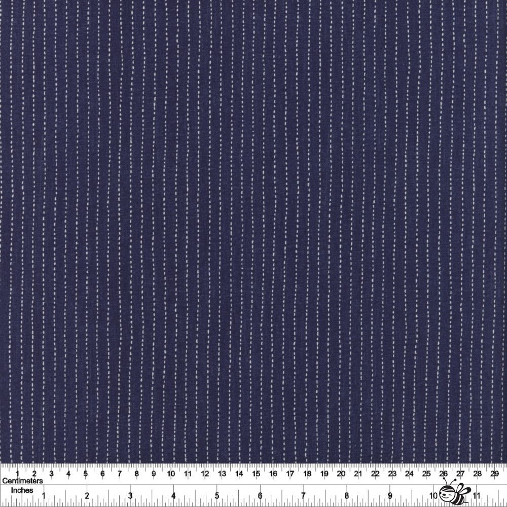 Sashiko - Stitched Stripe - Indigo