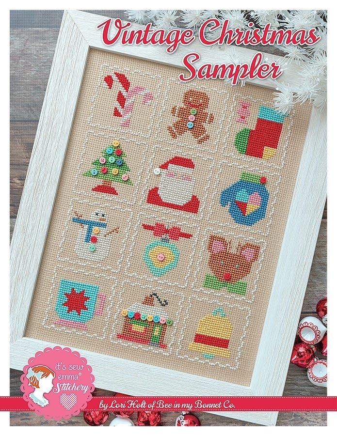 Bee in My Bonnet Cross Stitch Pattern - Vintage Christmas Sampler