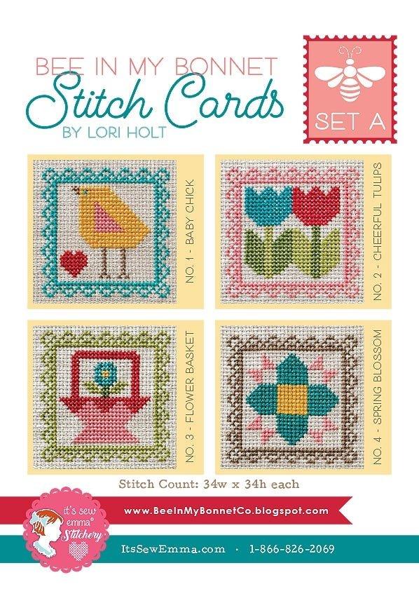Bee in My Bonnet Stitch Cards - Set A - Garden