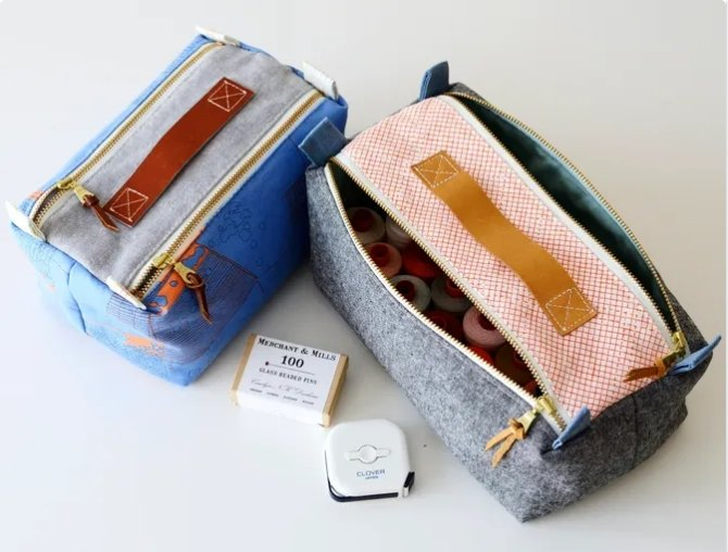 Aneela Hoey - Double Zip Box Pouch