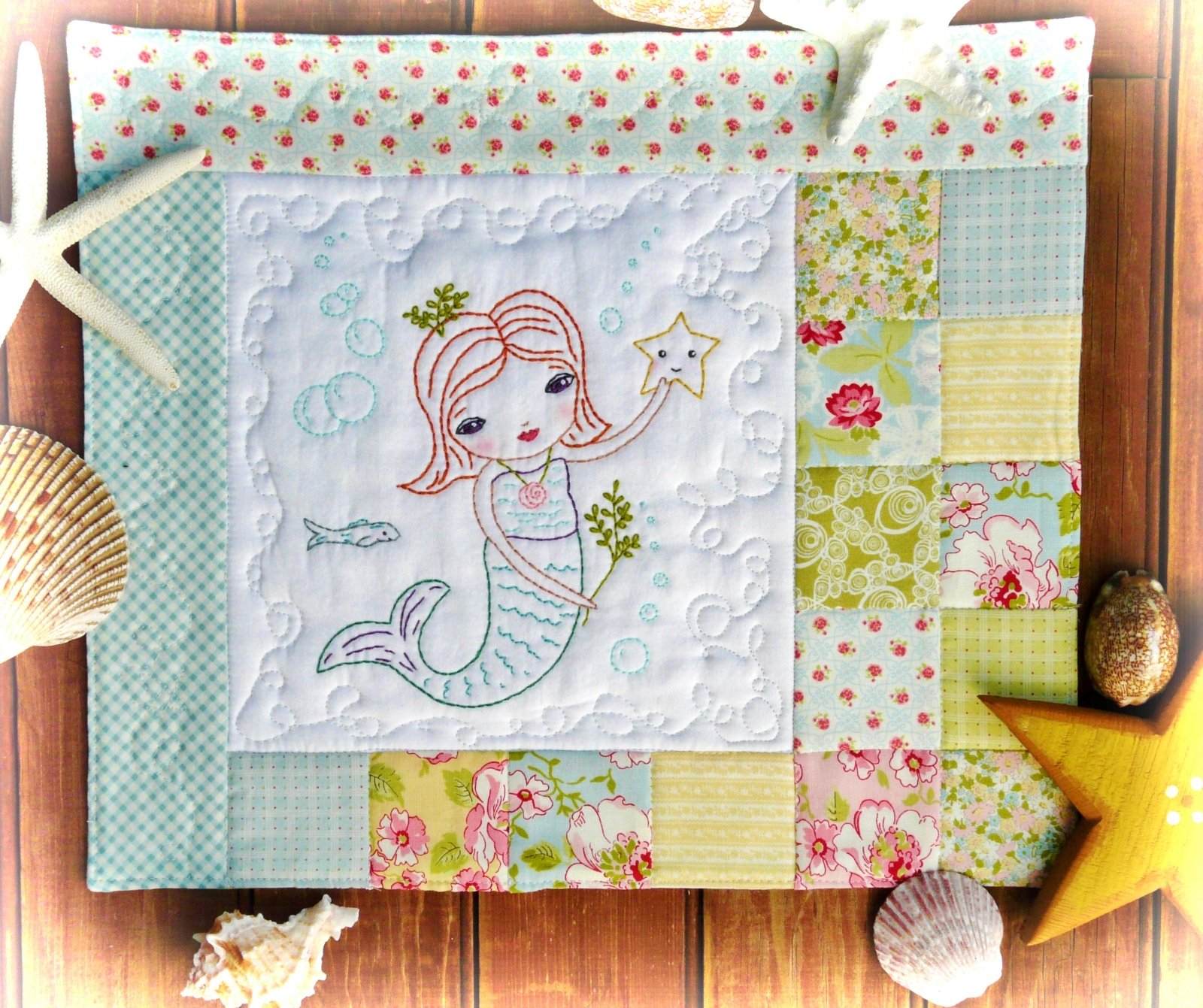 Hudson's Holidays - The Merry Mermaid Embroidery Mini Quilt