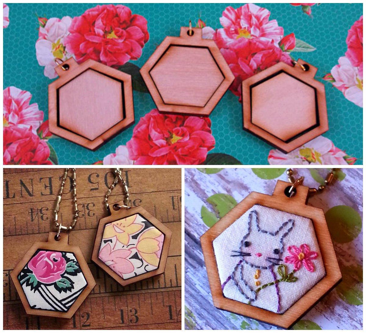Mini Hexagon Embroidery Blanks - Set of 3
