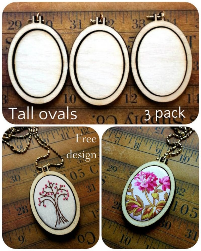 Mini Tall Oval Embroidery Blanks - Set of 3