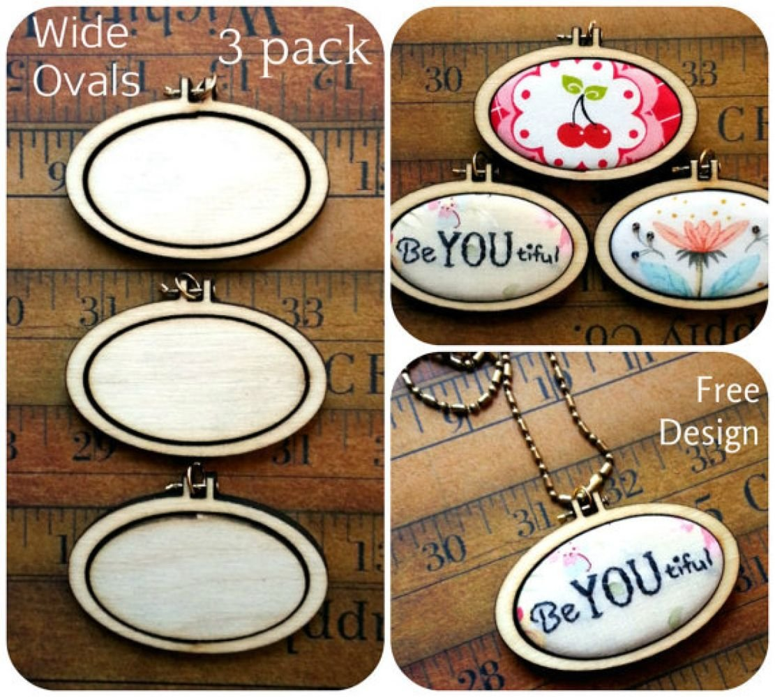 Mini Wide Oval Embroidery Blanks - Set of 3