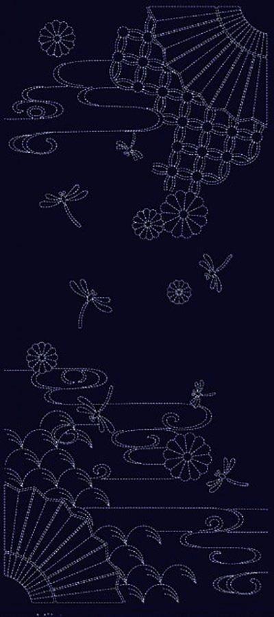 Wagara Sashiko Panel - Autumn Sky - Indigo