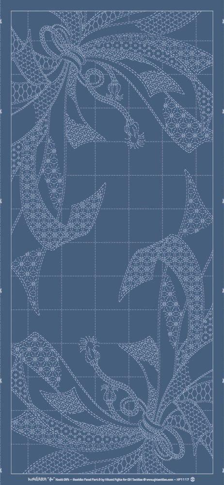 Wagara Sashiko Panel - Noshi Gift - Lapis Blue