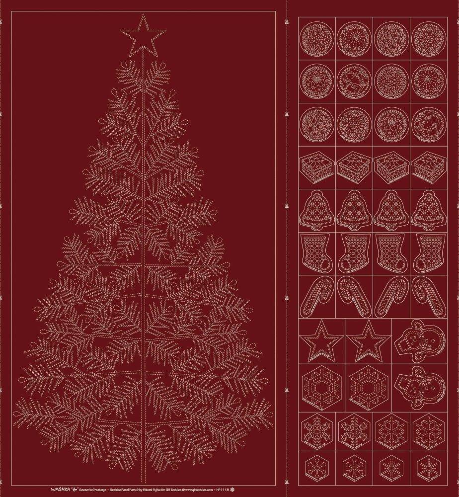 Wagara Sashiko Panel - Season's Greetings - Red