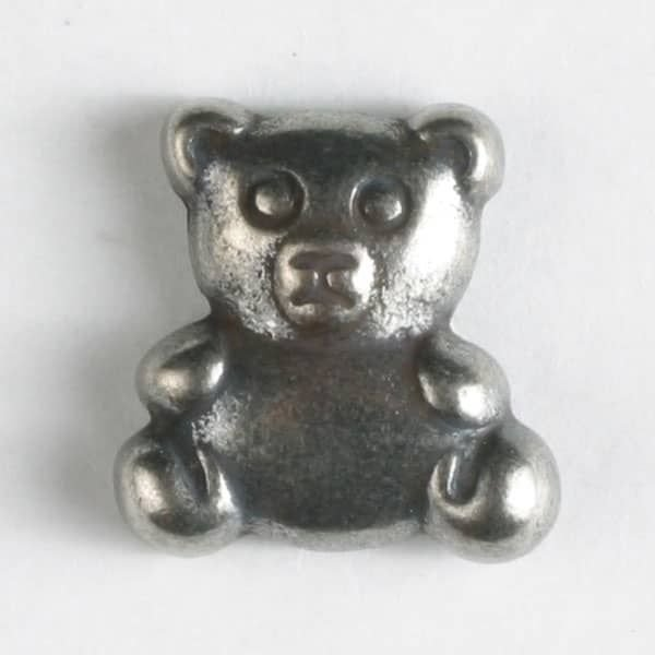 Teddy Bear Button - Antique Silver - 18mm