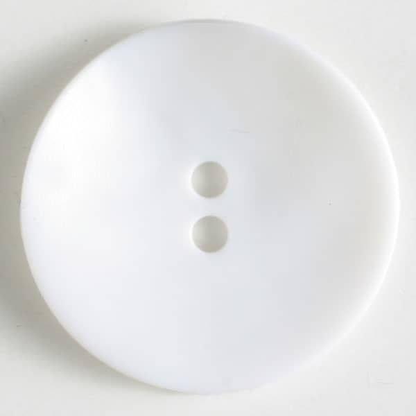 Wavy Matte Plastic Button - White - 28mm