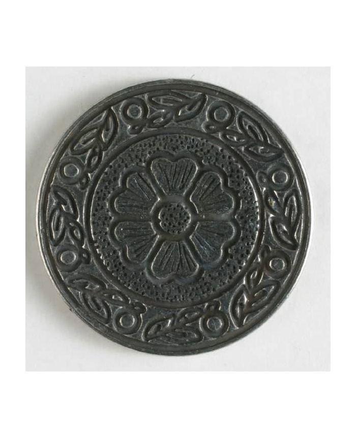 Metal Flower Crest Buttons - Antique Silver - 20mm