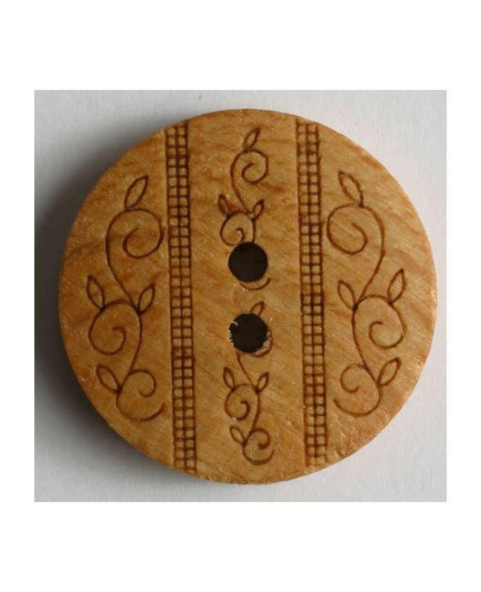Wooden Leafy Button - Chestnut - 18mm