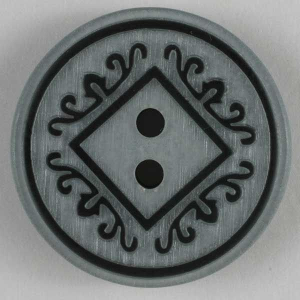 Polyester Ornamented Button - Grey - 18mm