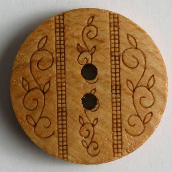 Wooden Leafy Button - Chestnut - 23mm