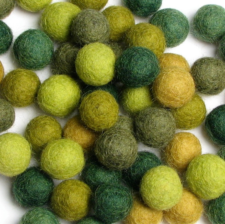 Wool Felt Balls - 1.5cm - Evergreen Mix