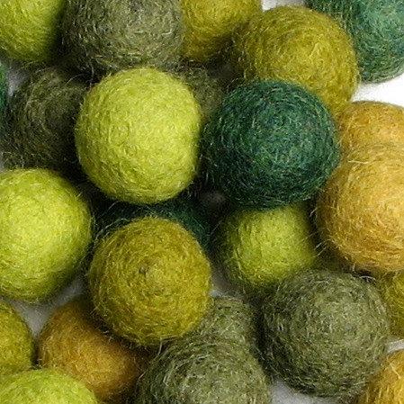 Wool Felt Balls - 2cm - Evergreen Mix