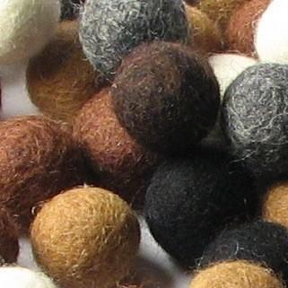 Wool Felt Balls - 2cm - Neutrals Mix