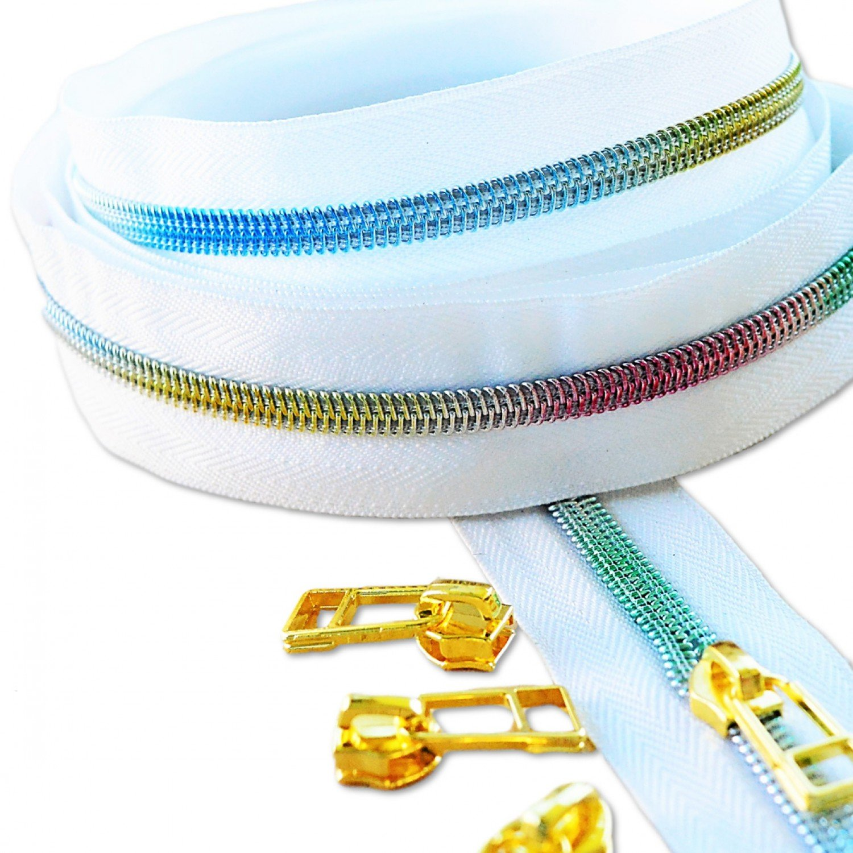 Zipper Tape - White Tape & Rainbow #5 Zipper