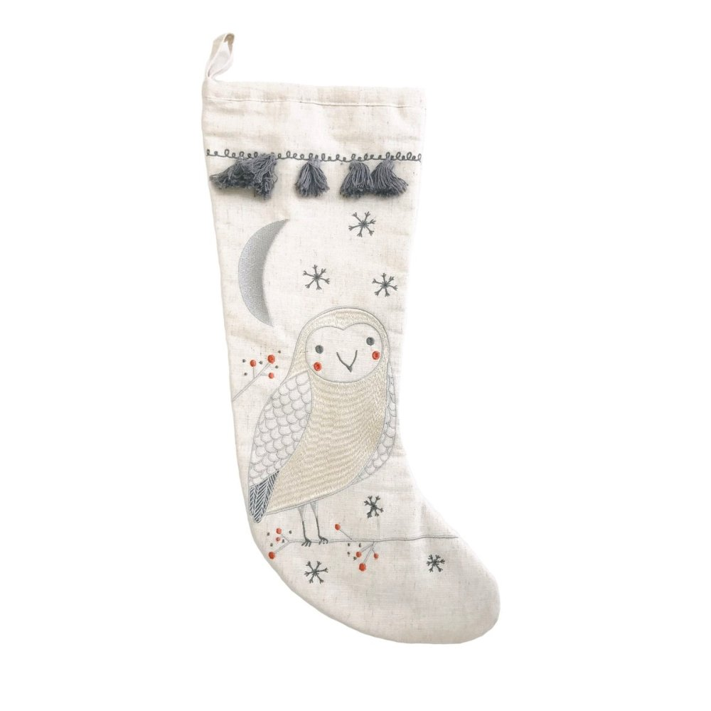 Gingiber - Merriment Embroidered Stocking - Snow Owl
