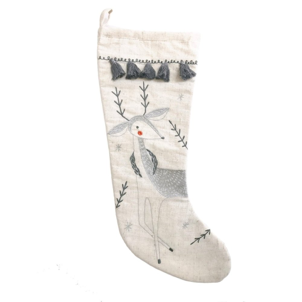 Gingiber - Merriment Embroidered Stocking - Deer