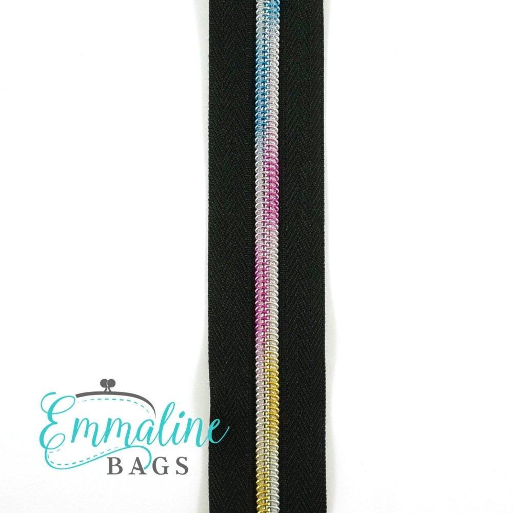 Zipper Tape - Black Tape & Rainbow #5 Zipper