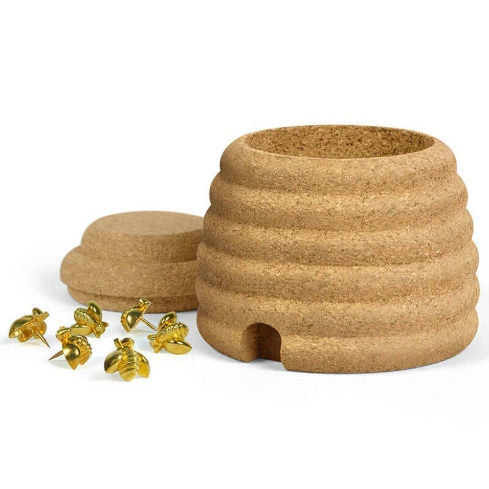 Busy Bees Cork Beehive Box & Pushpins Set