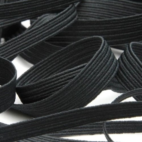 Elastic - 1/4 (6mm) Flat Black
