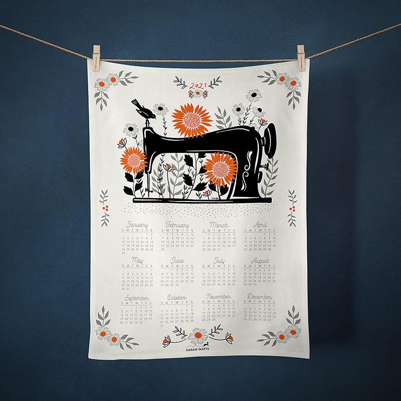 2021 Calendar Tea Towel - Garden Sewing