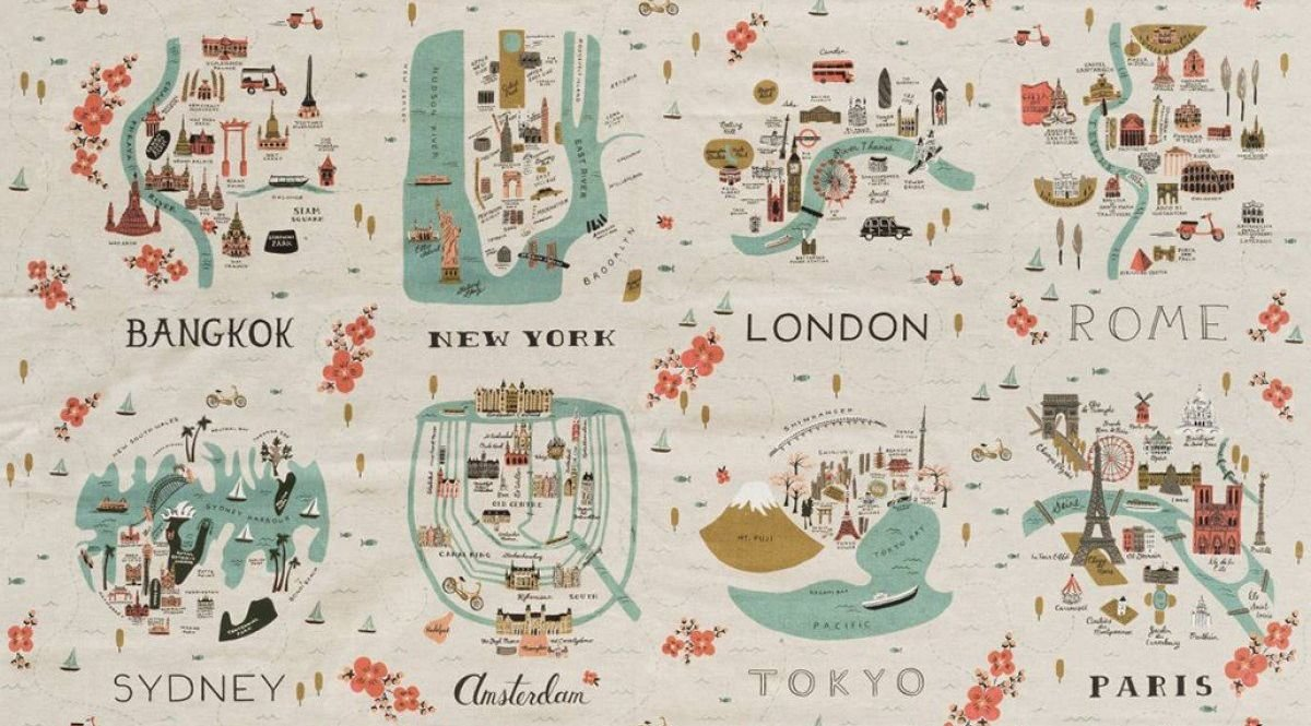 Les Fleurs - City Maps Canvas Panel - Neutral