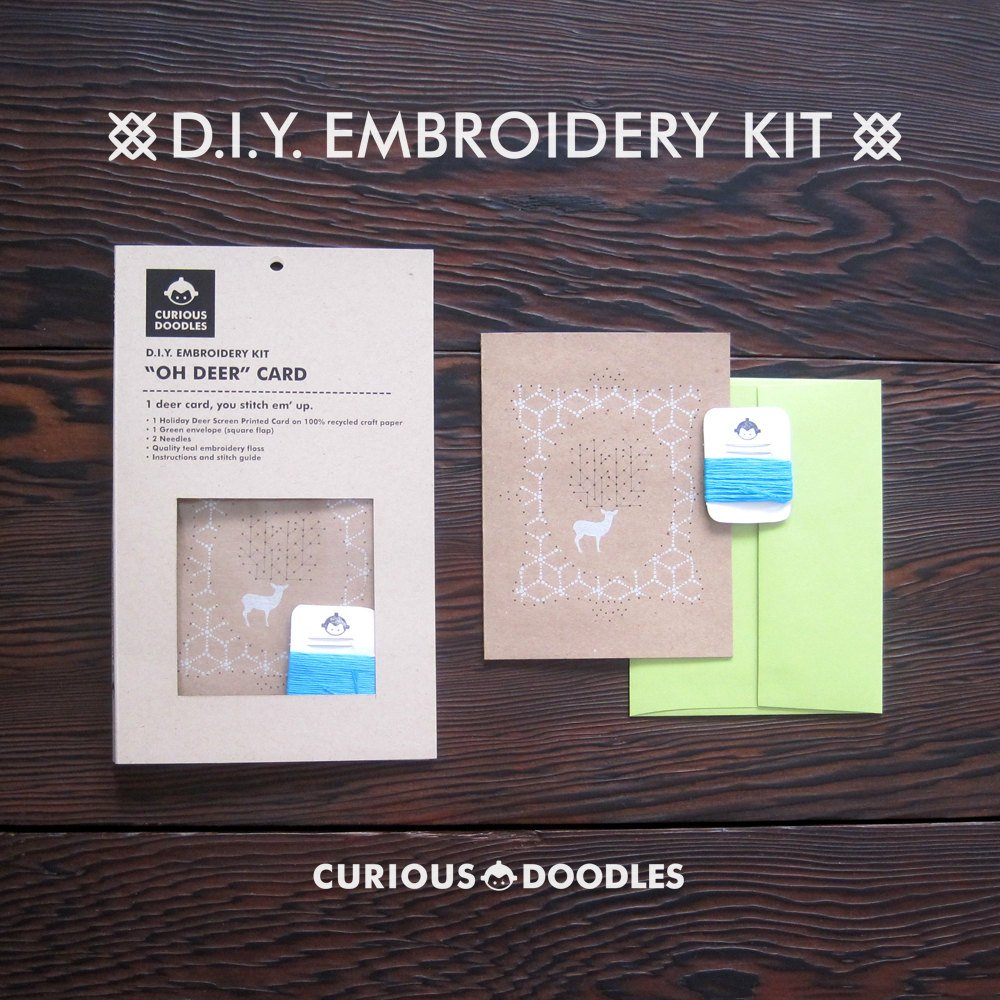 DIY Embroidery Kit - Oh Deer Card