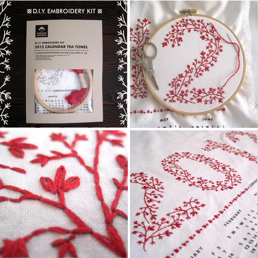 DIY Embroidery Kit - 2012 Calendar Tea Towel