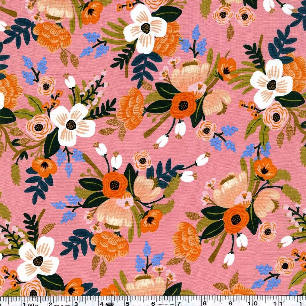 Amalfi - Lively Floral Rayon - Coral