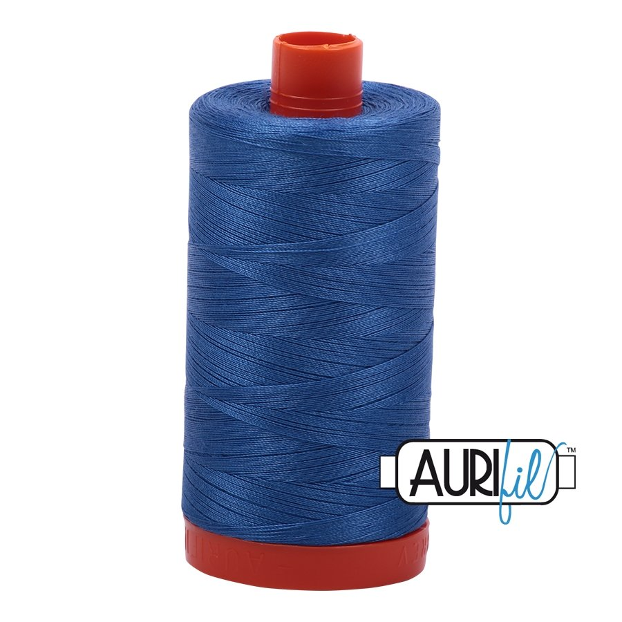 AURIfil Thread - 50wt 100% Cotton Mako Thread - Peacock Blue #6738