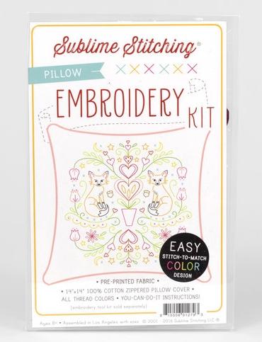 Sublime Stitching - Embroidery Kit - Folk Foxes Throw Pillow