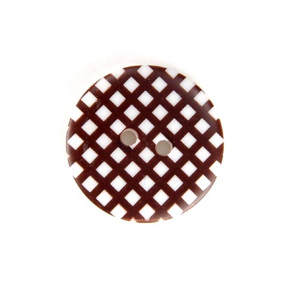 Gingham Buttons - Brown