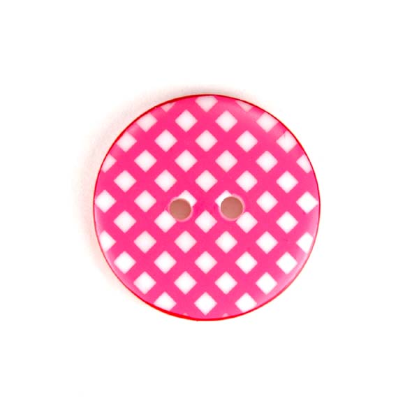 Gingham Buttons - Hot Pink