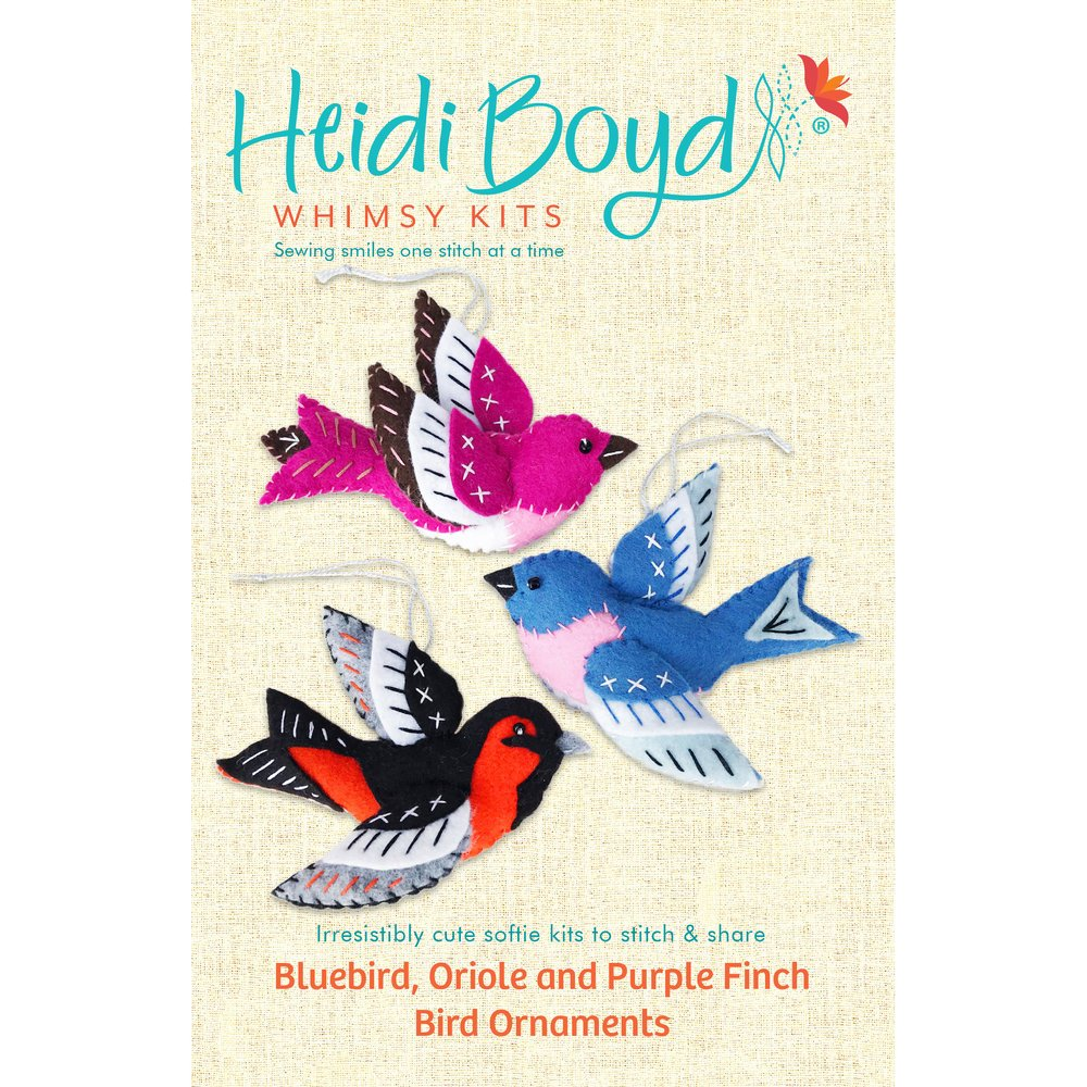 Heidi Boyd Whimsy Kits - Bluebird, Oriole & Purple Finch Bird Ornaments