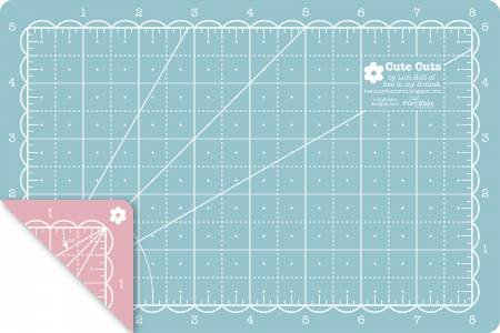 Lori Holt Cute Cuts Rotary Cutting Mat - 12 x 18 - Blue & Pink