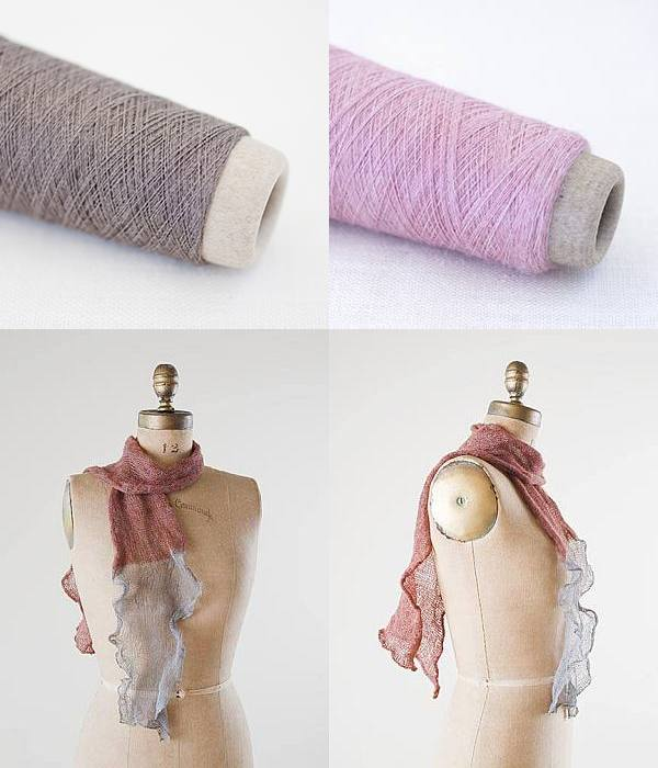Habu Kit - Kusha Kusha Scarf Kit - Brown & Sakura Pink