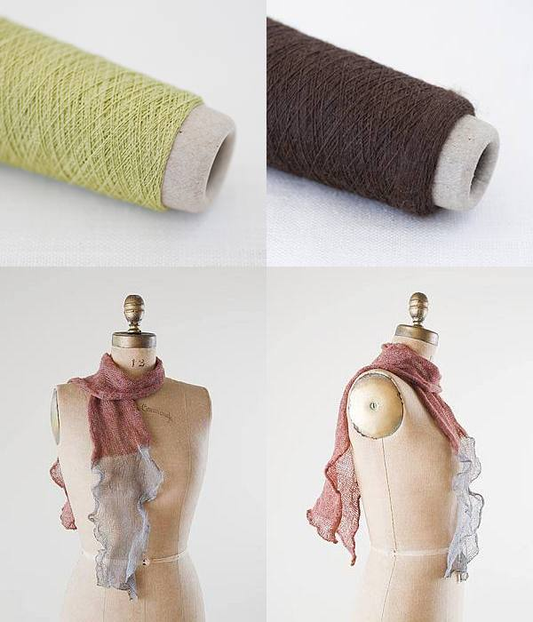 Habu Kit - Kusha Kusha Scarf Kit - Tea Green & Umber