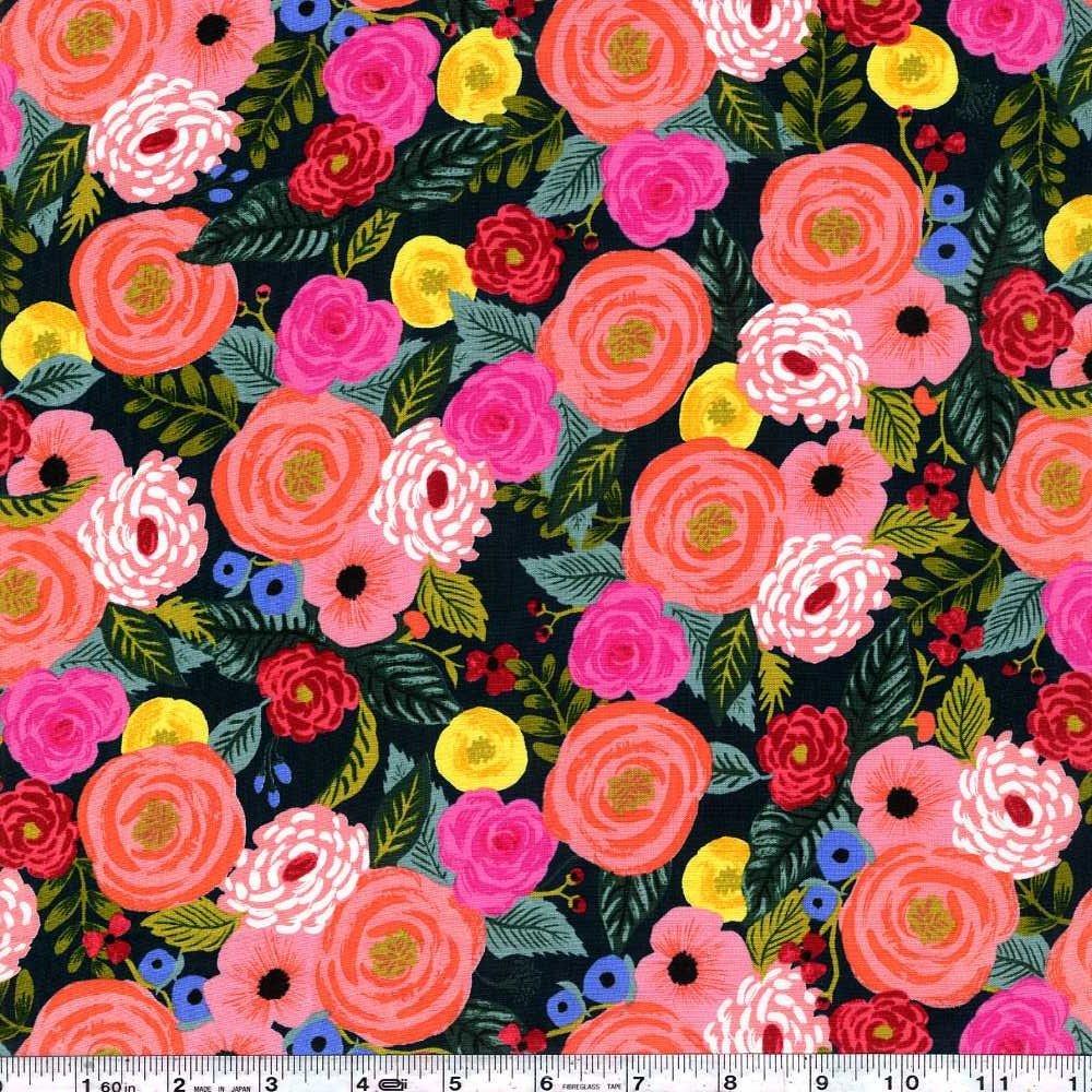 English Garden - Juliet Rose Rayon - Forest Green