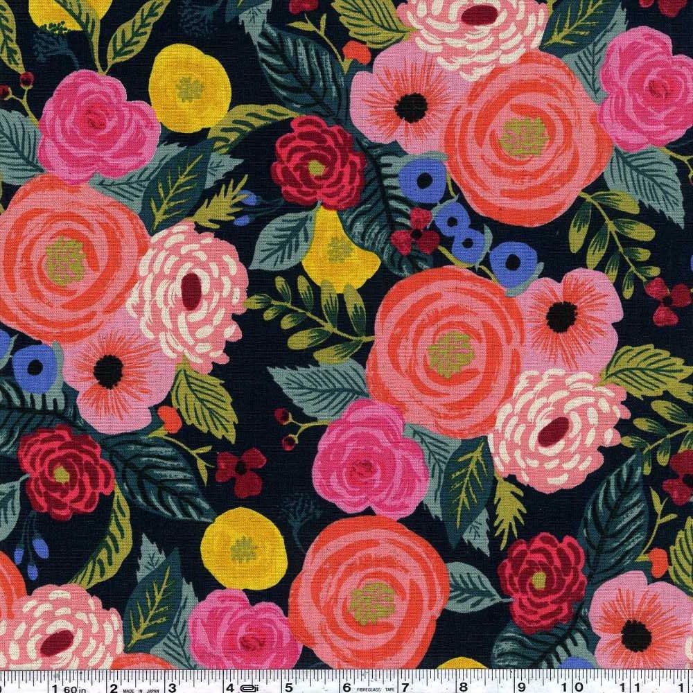 English Garden - Juliet Rose Canvas - Forest Green