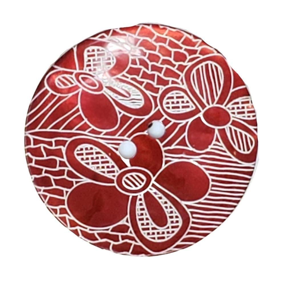 Red Flower Sheen Button - 33mm